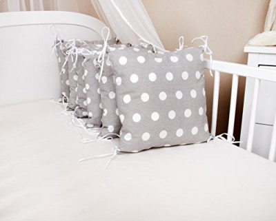 Baby nestchen bettumrandung pünktchen grau