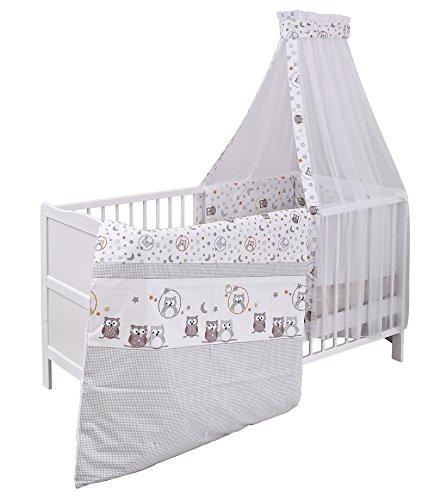 Urra Komplett-Kinderbett Luca 70x140 cm Kiefer weiß | teilmassiv |  inklusive Bettset 3-teilig | Matratze | Himmelstange | Eulenpaar -  Babybett.info